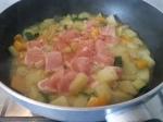 in cottura con le verdure